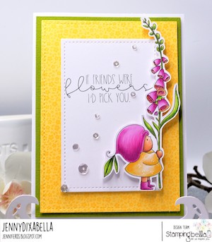 www.stampingbella.com: rubber stamp used BUNDLE GIRL with a FOXGLOVE. card by JENNY DIX