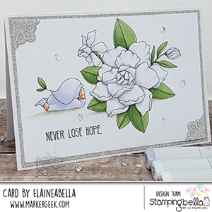 www.stampingbella.com: rubber stamp used BUNDLE GIRL with a GARDENIA. card by Elaine Hughes