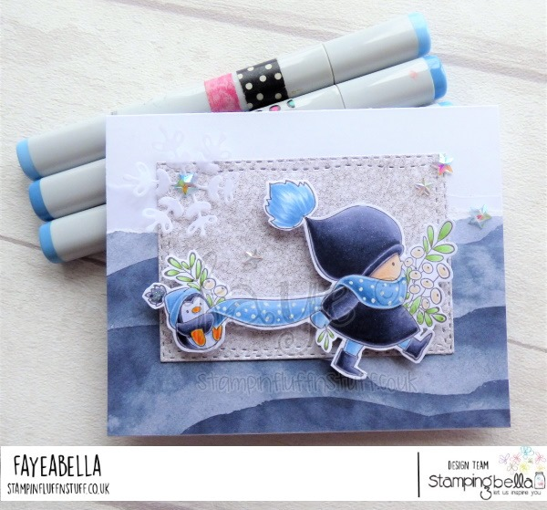 www.stampingbella.com: rubber stamp used BUNDLE GIRL WITH A PENGUIN. card by FAYE WYNN JONES