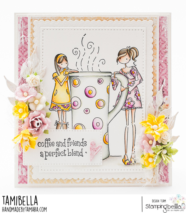 www.stampingbella.com: rubber stamp used: UPTOWN GIRLS CLARISSA and CAMILLE card by Tamara Potocznik