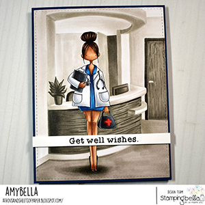 www.stampingbella.com: rubber stamp used CURVY GIRL DOCTOR card by Amy Young