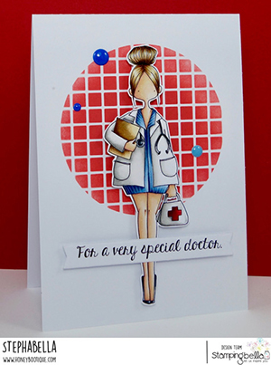 www.stampingbella.com: rubber stamp used CURVY GIRL DOCTOR card by Stephanie Hill