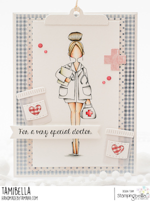 www.stampingbella.com: rubber stamp used CURVY GIRL DOCTOR card by Tamara Potocznik