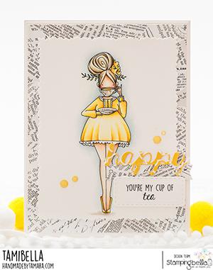 www.stampingbella.com: rubber stamp used CURVY GIRL LOVES TEA card by Tamara Potocznik