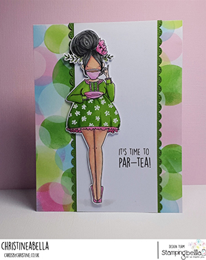 www.stampingbella.com: rubber stamp used CURVY GIRL LOVES TEA card by Christine Levison