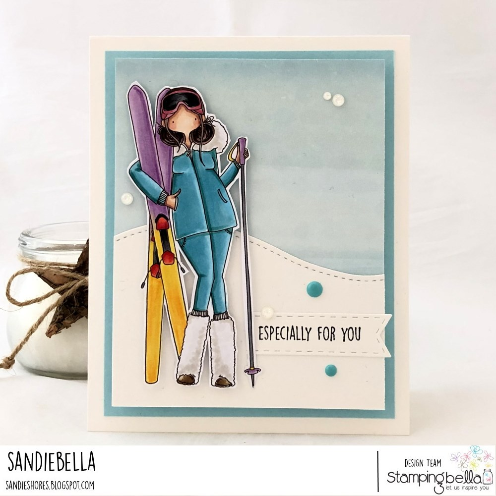 www.stampingbella.com: rubber stamp used CURVY GIRL LOVES TO SKI. card by SANDIE DUNNE