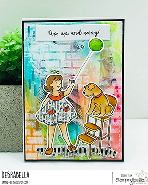 www.stampingbella.com: Rubber stamp used: EDGAR AND MOLLY VINTAGE BALLOON SET card by DEBRA JAMES