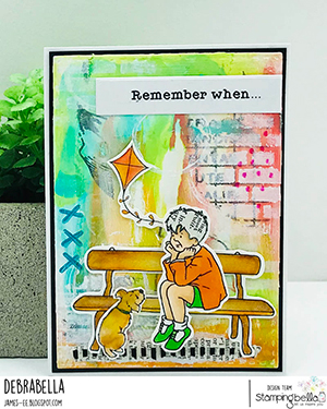 www.stampingbella.com: Rubber stamp used: EDGAR AND MOLLY VINTAGE BENCH SET card by Debra James
