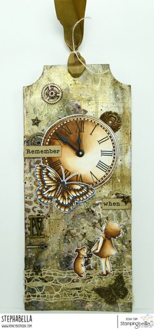 www.stampingbella.com: Rubber stamp used: EDGAR AND MOLLY VINTAGE CLOCK SET card by Stephanie Hill