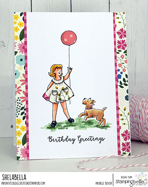 www.stampingbella.com: Rubber stamp used: EDGAR AND MOLLY VINTAGE BALLOON SET card by MICHELE BOYER