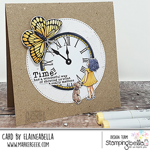 www.stampingbella.com: Rubber stamp used: EDGAR AND MOLLY VINTAGE CLOCK SET card by Elaine Hughes