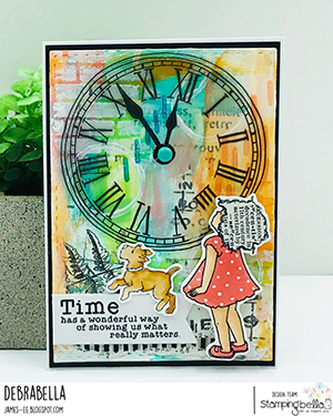 www.stampingbella.com: Rubber stamp used: EDGAR AND MOLLY VINTAGE CLOCK SET card by Debra James