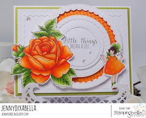 www.stampingbella.com: Rubber stamp used: EDGAR AND MOLLY VINTAGE FLOWER SET card by Jenny Dix