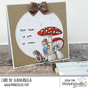 www.stampingbella.com: Rubber stamp used: EDGAR AND MOLLY VINTAGE MUSHROOM SET card by ELAINE HUGHES