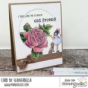 www.stampingbella.com: Rubber stamp used: EDGAR AND MOLLY VINTAGE FLOWER SET card by ELAINE HUGHES