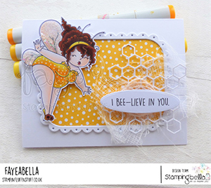www.stampingbella.com: rubber stamp used EDNA THE BUMBLEBEE. card by Faye Wynn Jones