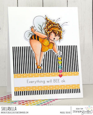 www.stampingbella.com: rubber stamp used EDNA THE BUMBLEBEE. card by Michele Boyer