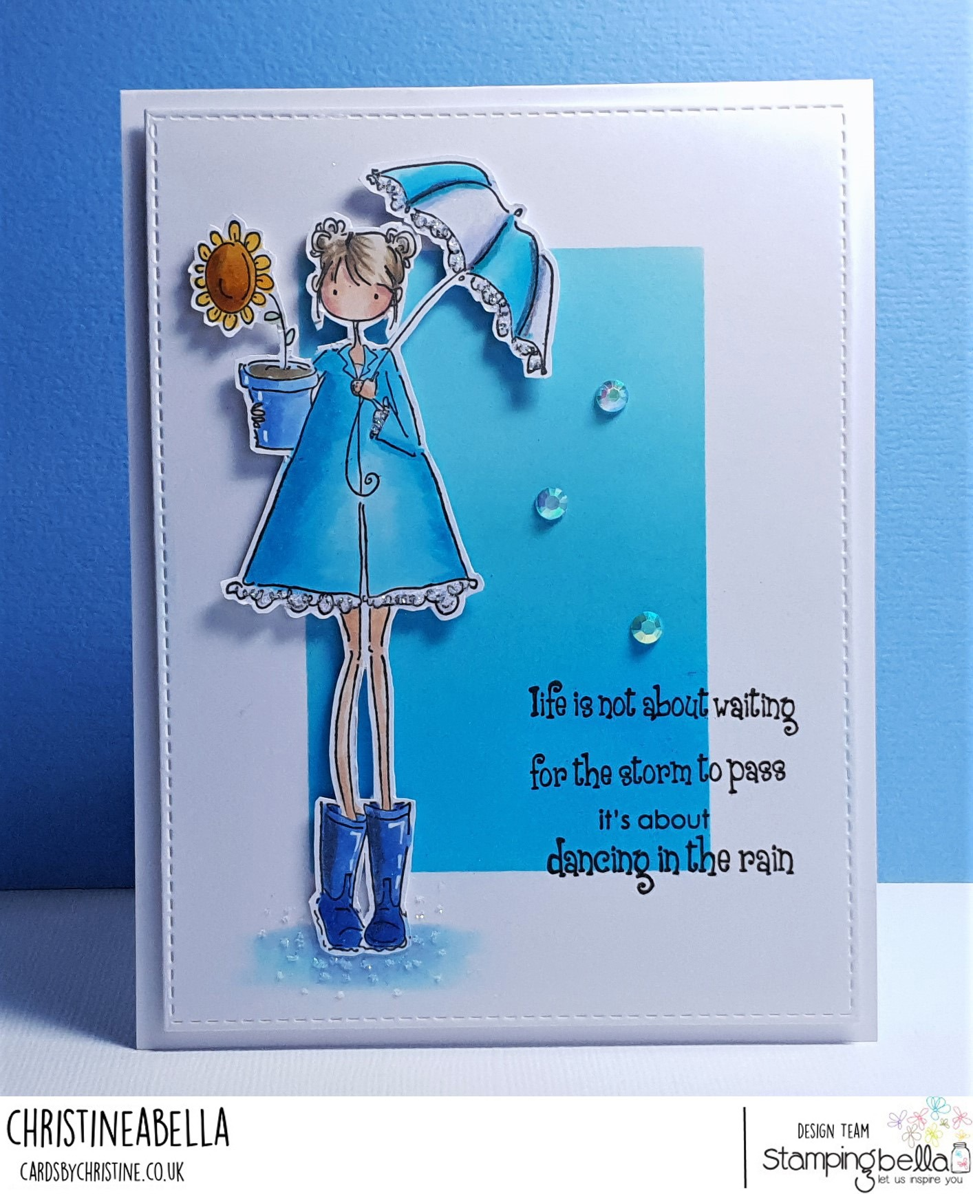 www.stampingbella.com: rubber stamp used UPTOWN GIRL LOLLY AND HER BROLLY. card by CHRISTINE LEVISON