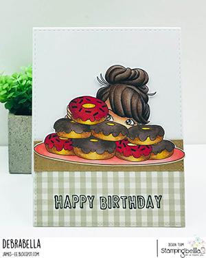 www.stampingbella.com: Rubber stamp used: MOCHI DONUT GIRL card by DEBRA JAMES