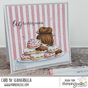 www.stampingbella.com: Rubber stamp used: MOCHI DONUT GIRL card by Elaine Hughes