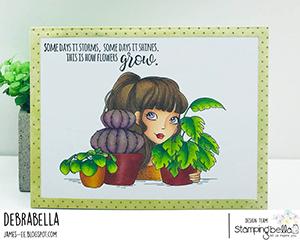 www.stampingbella.com: Rubber stamp used: MOCHI PLANT GIRL card by DEBRA JAMES