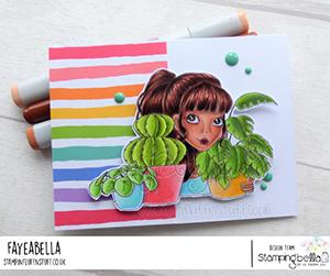 www.stampingbella.com: Rubber stamp used: MOCHI PLANT GIRL card by Faye Wynn Jones