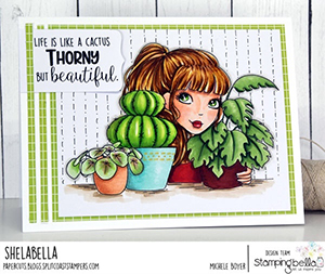 www.stampingbella.com: Rubber stamp used: MOCHI PLANT GIRL card by Michele Boyer