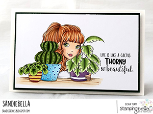 www.stampingbella.com: Rubber stamp used: MOCHI PLANT GIRL card by Sandie Dunne