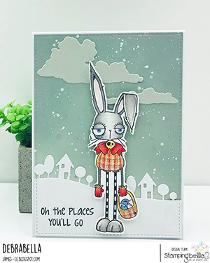 www.stampingbella.com: Rubber stamp used: ODDBALL EASTER BUNNY card by Debra James