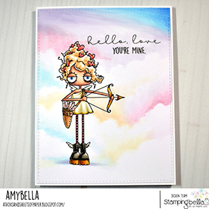 www.stampingbella.com: Rubber stamp used: ODDBALL CUPID card by Amy Young