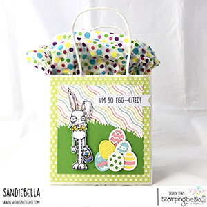 www.stampingbella.com: Rubber stamp used: ODDBALL EASTER BUNNY card by Sandie Dunne