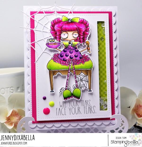 www.stampingbella.com: Rubber stamp used: ODDBALL LITTLE MISS MUFFETT card by Jenny Dix