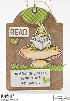 www.stampingbella.com: rubber stamp used Reading Gnome card by Tamara Potocznik