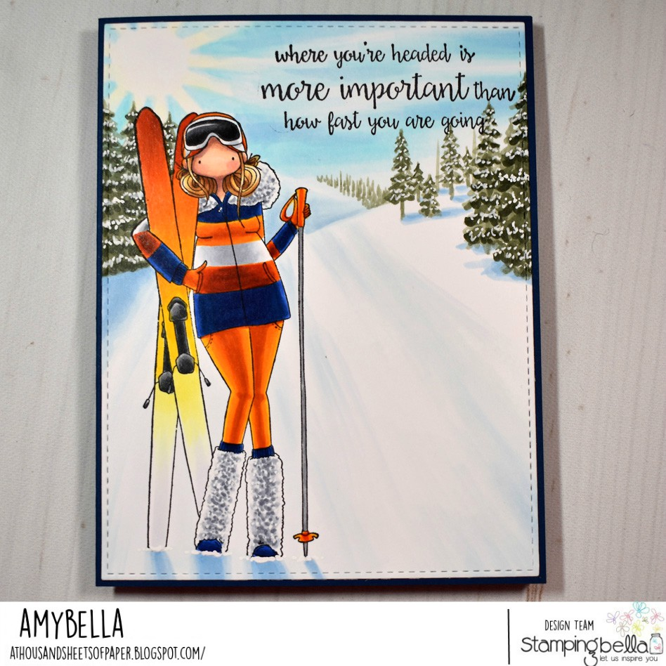 www.stampingbella.com: rubber stamps used:  CURVY GIRL LOVES TO SKI  sentiment from TINY TOWNIE SALLY and her snail.  Card by AMY YOUNG