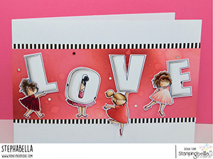www.stampingbella.com: rubber stamp used TEENY TINY TOWNIE LOVE card by Stephanie Hill