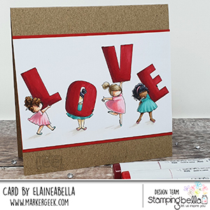 www.stampingbella.com: rubber stamp used TEENY TINY TOWNIE LOVE card by Elaine Hughes