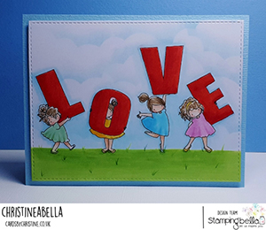 www.stampingbella.com: rubber stamp used TEENY TINY TOWNIE LOVE card by Christine Levison