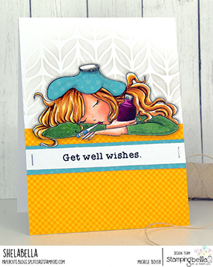 www.stampingbella.com: Rubber stamp used: UNDER THE WEATHER MOCHI GIRL card by Michele Boyer