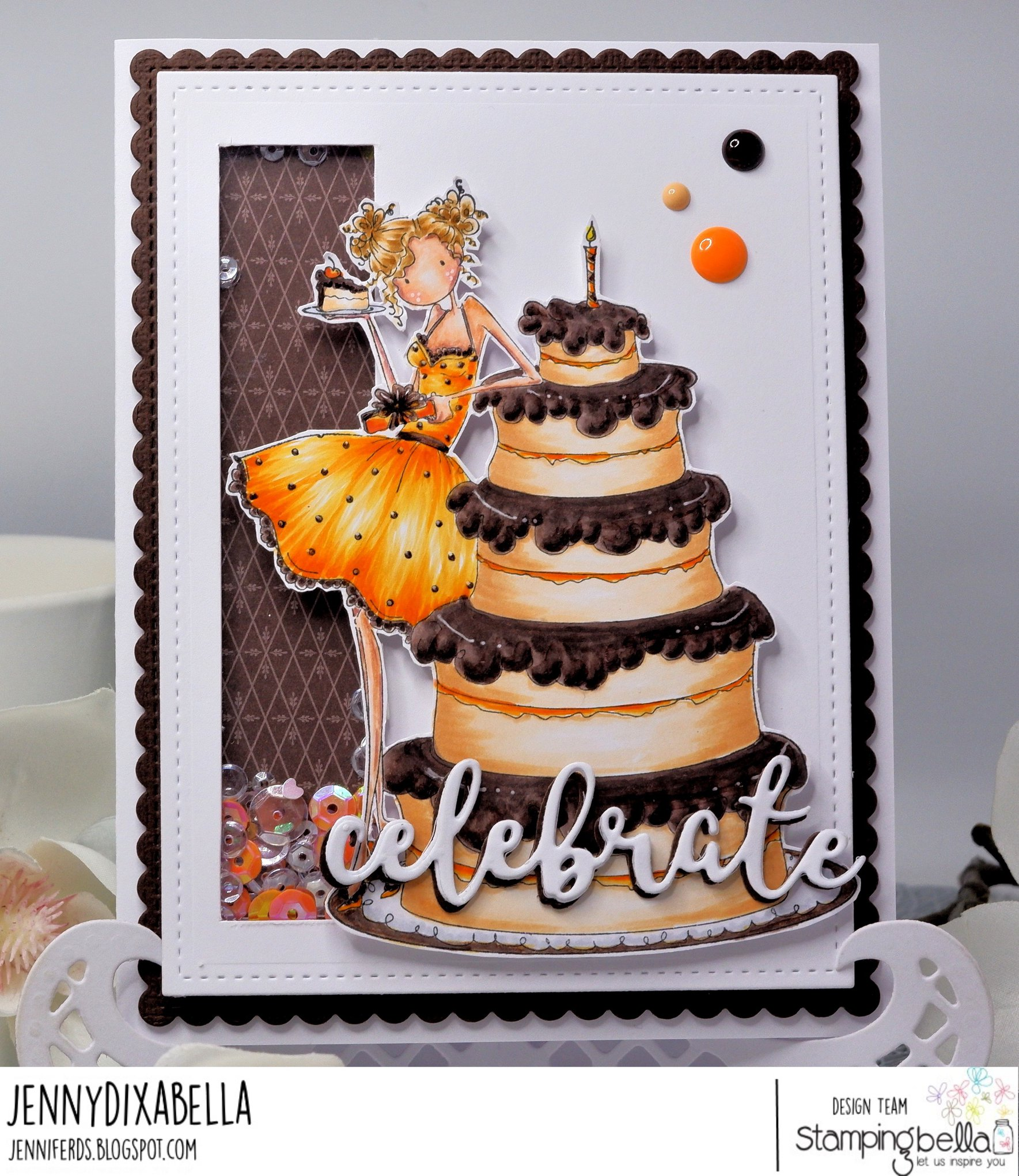 www.stampingbella.com: Rubber stamp used: UPTPOWN GIRL BIANCA and her BIG CAKE. card by JENNY DIX