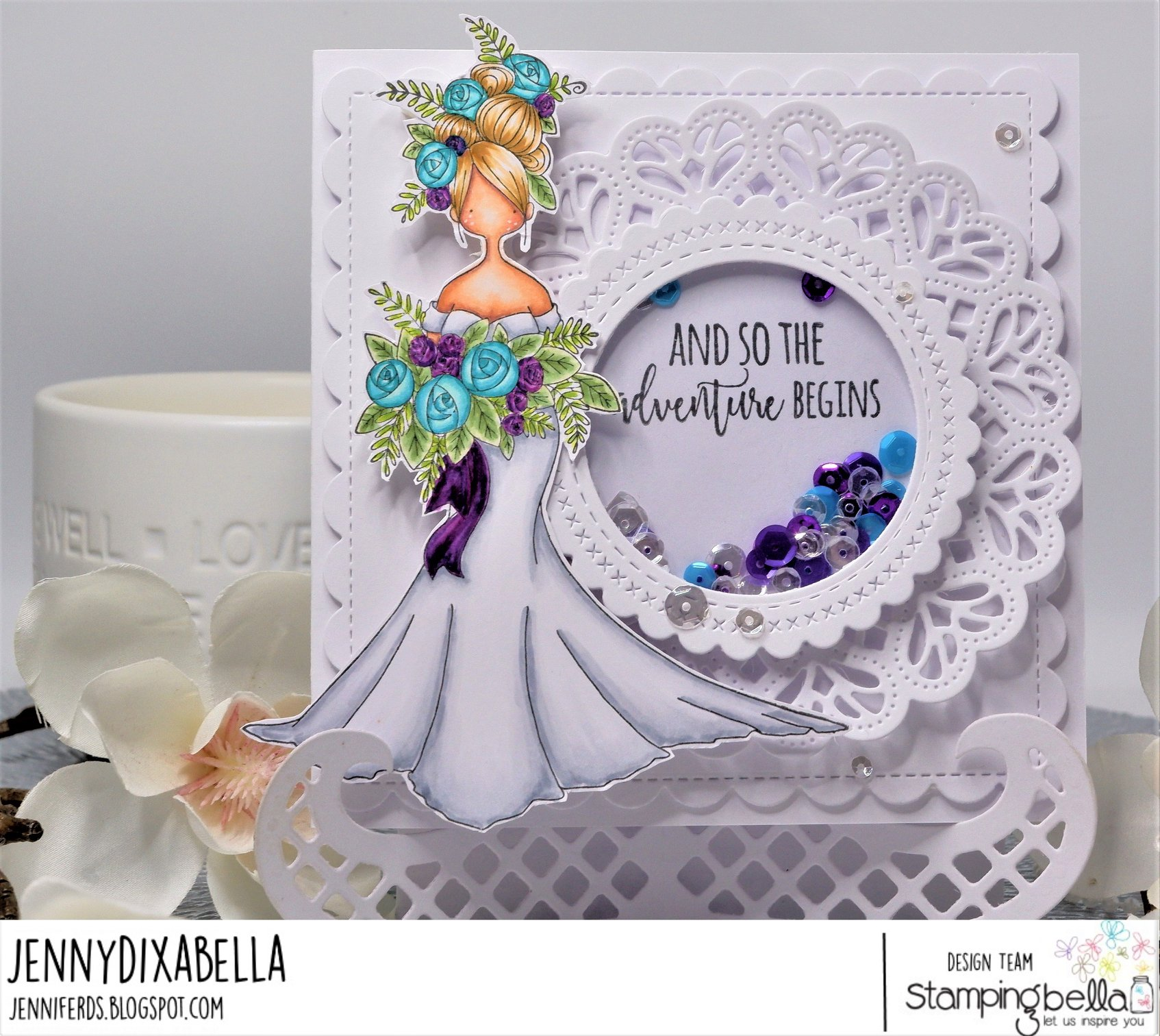 www.stampingbella.com: rubber stamp used CURVY GIRL BRIDE. card by Jenny Dix