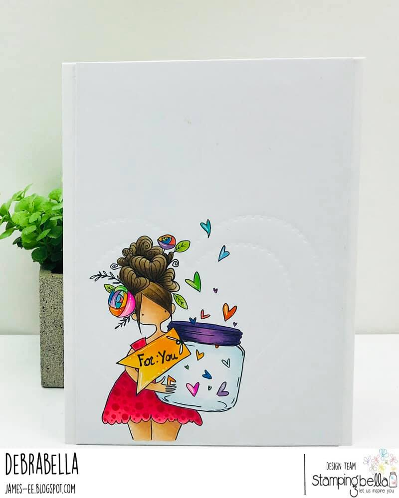 www.stampingbella.com: rubber stamp used: CURVY GIRL WITH A JAR OF HEARTS.  Card by DEBRA JAMES