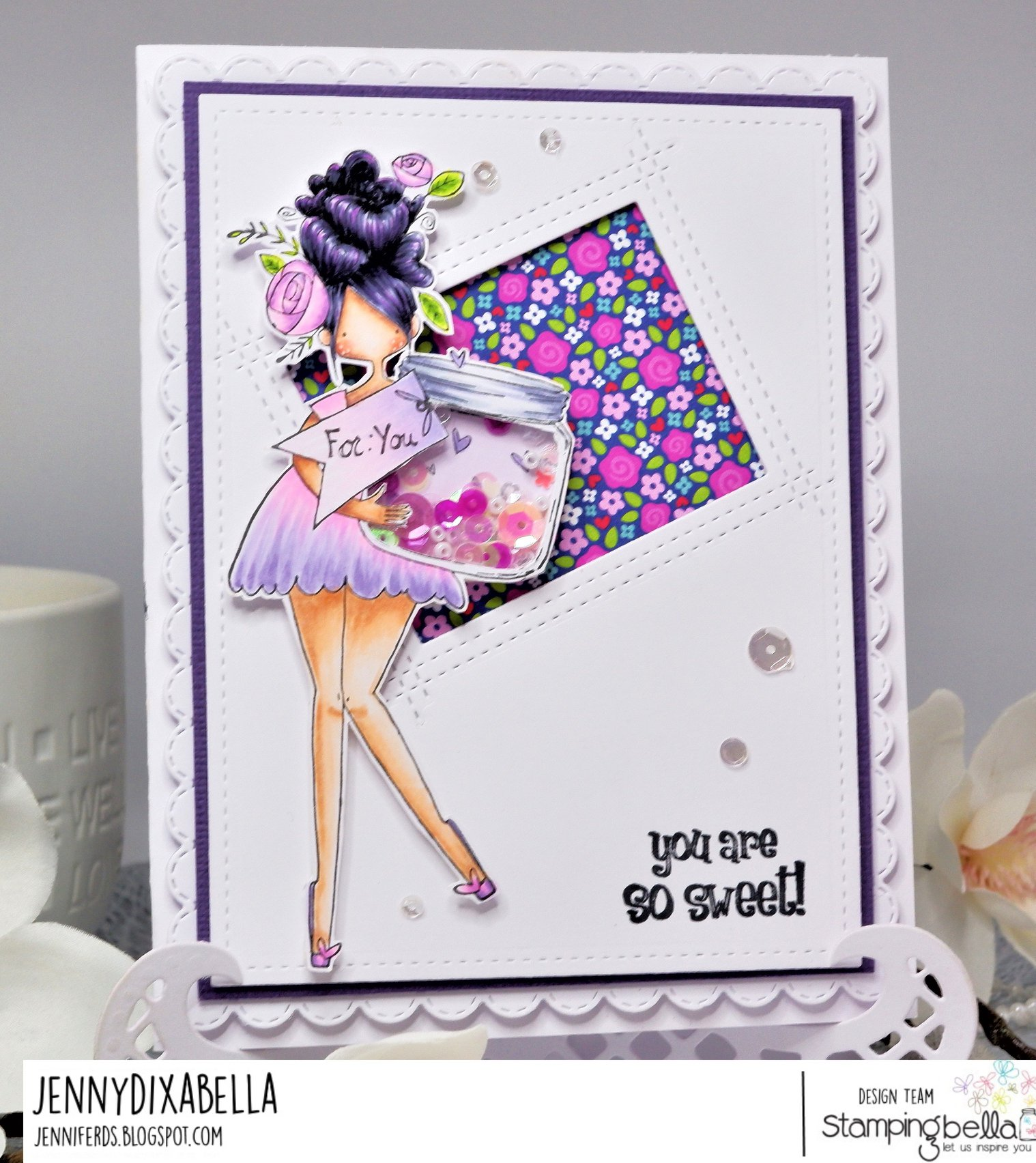 www.stampingbella.com: rubber stamp used: CURVY GIRL WITH A JAR OF HEARTS.  Card by JENNY DIX