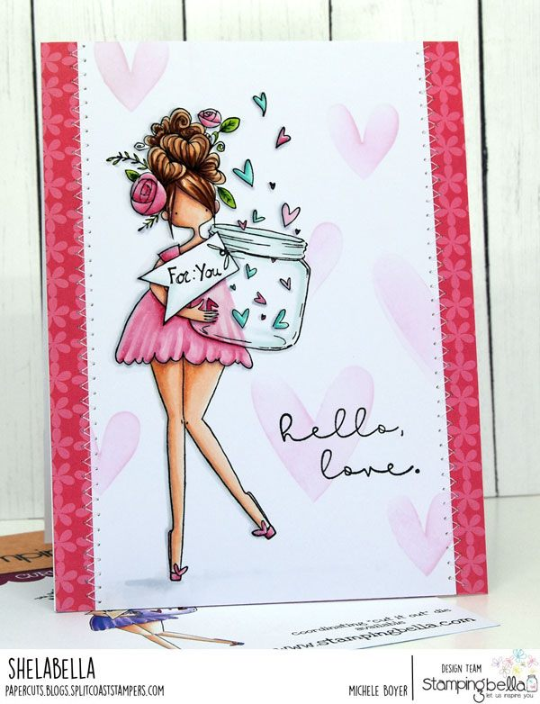 www.stampingbella.com: rubber stamp used: CURVY GIRL WITH A JAR OF HEARTS.  Card by Michele Boyer