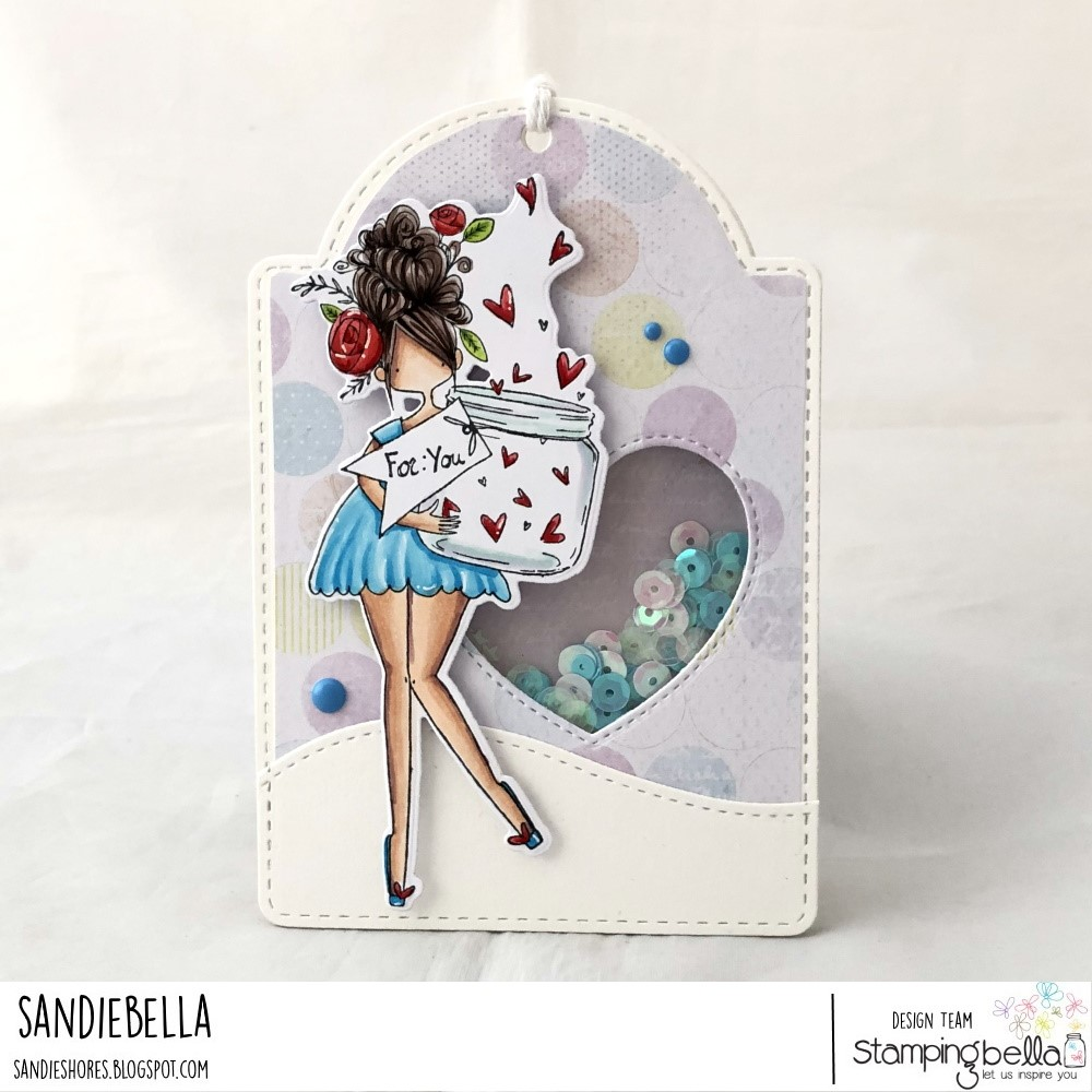 www.stampingbella.com: rubber stamp used: CURVY GIRL WITH A JAR OF HEARTS.  Card by Sandie Dunne