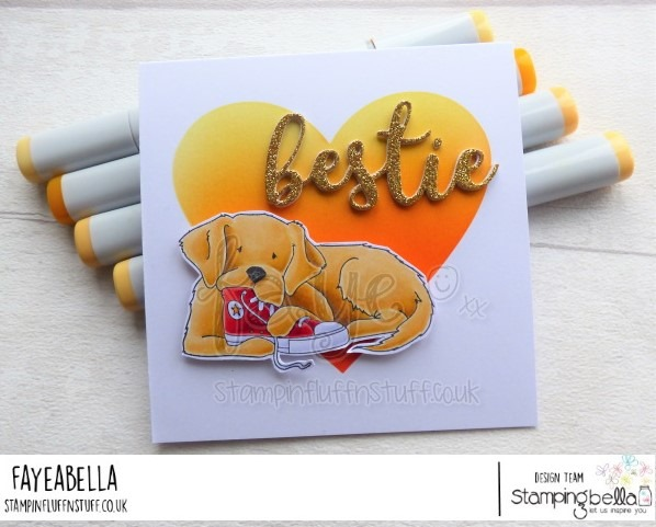 www.stampingbella.com: Rubber stamp used: GOLDEN and his SNEAKER card by FAYE WYNN JONES