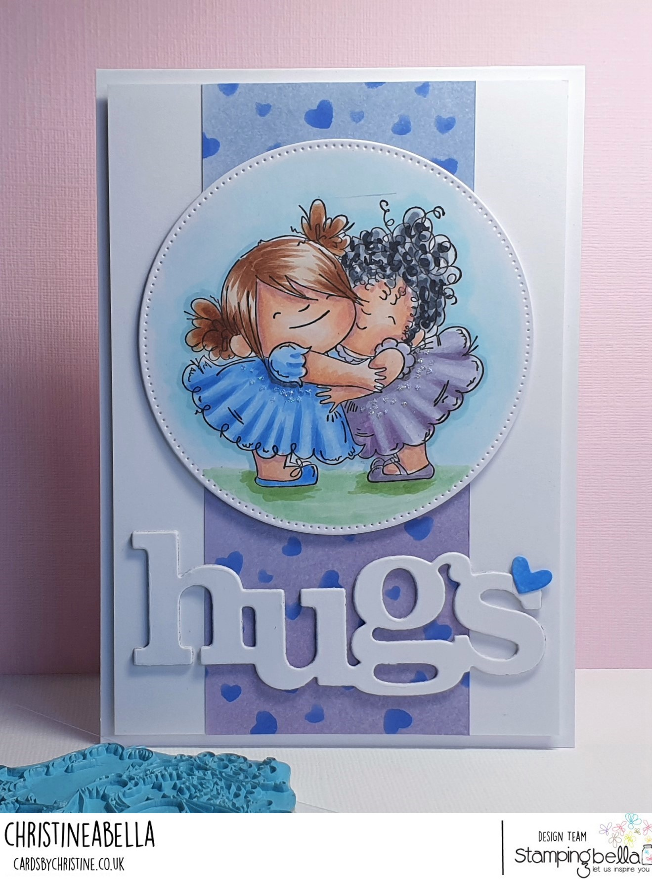 www.stampingbella.com: Rubber stamp used: HUGGY SQUIDGIES. card by CHRISTINE LEVISON