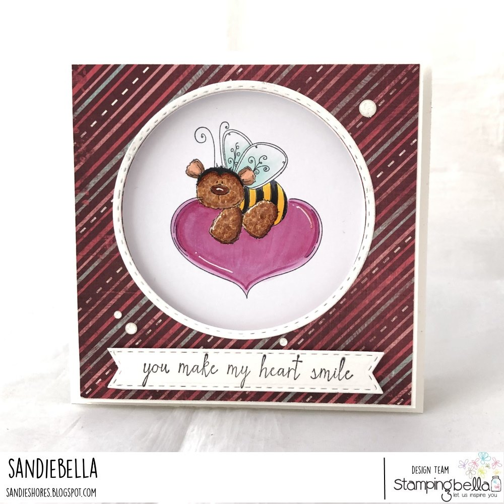 www.stampingbella.com: Rubber stamp used: THE BEE and the HEART. card by  Sandie Dunne