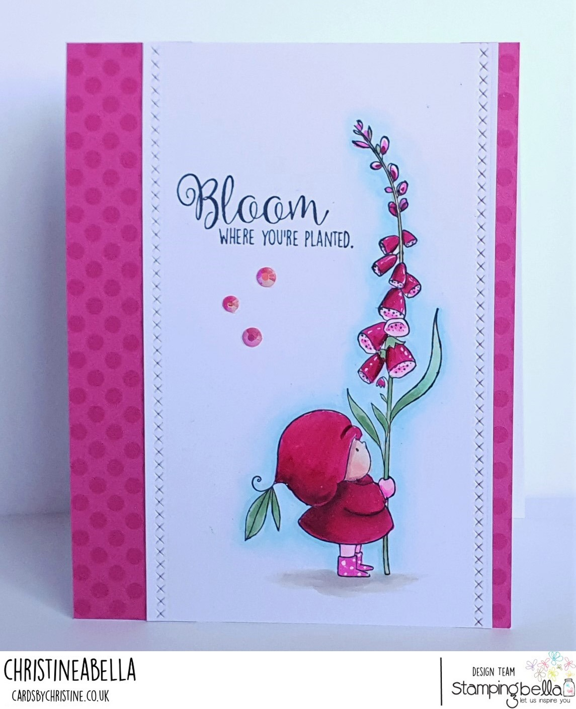 www.stampingbella.com: rubber stamp used BUNDLE GIRL WITH A FOXGLOVE. card by CHRISTINE LEVISON