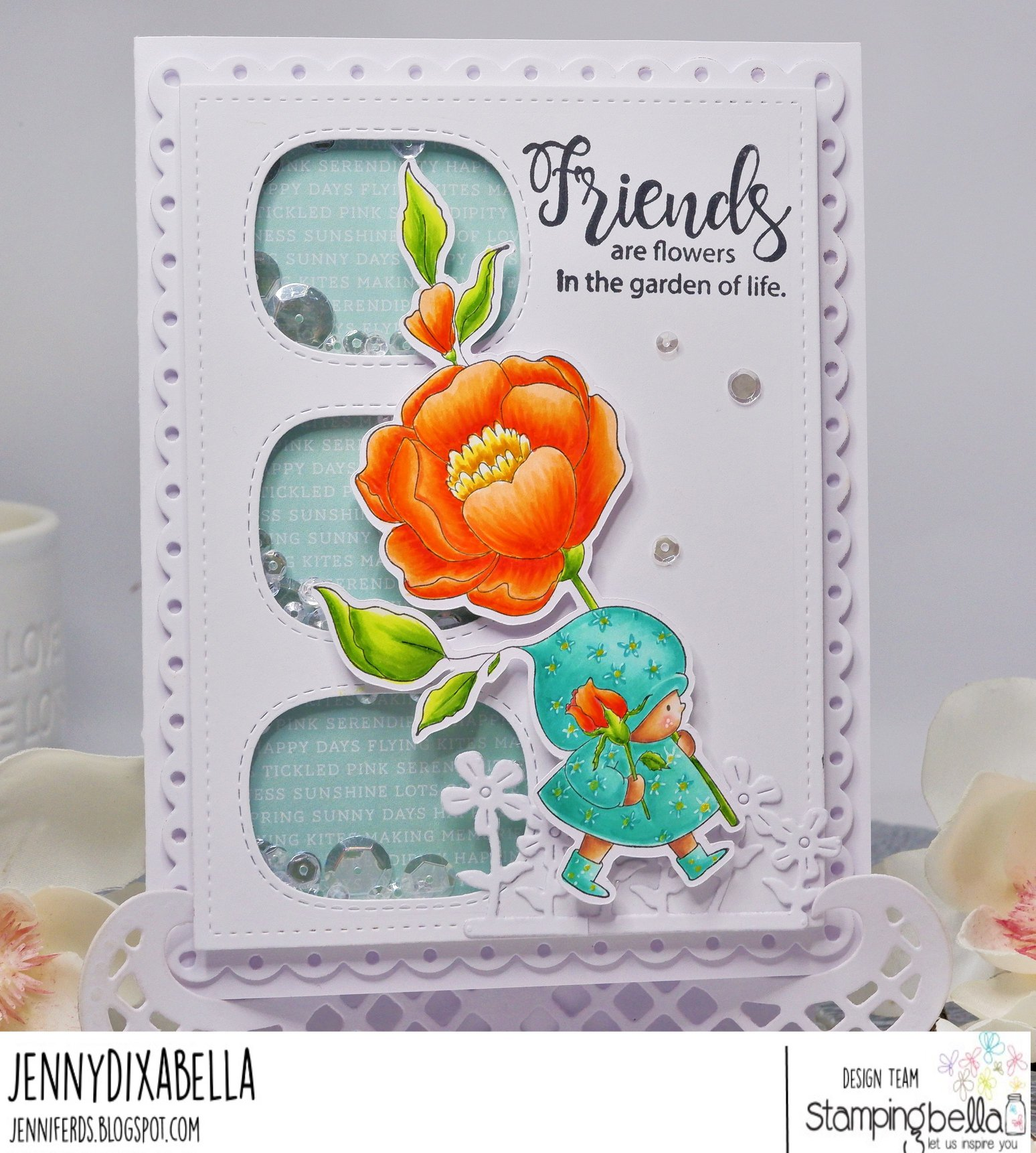 www.stampingbella.com: rubber stamp used : BUNDLE GIRL WITH A ROSE.  card by Jenny Dix