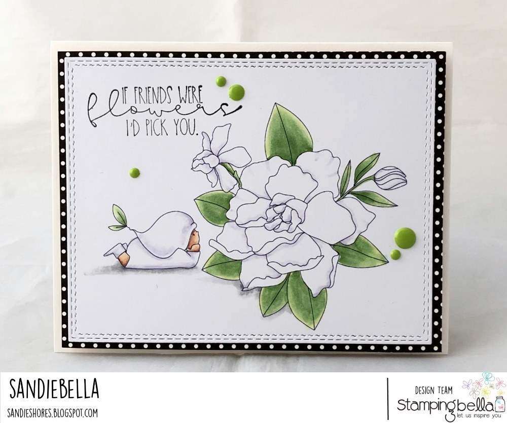 www.stampingbella.com: rubber stamp used:  BUNDLE GIRL with a GARDENIA card by SANDIE DUNNE